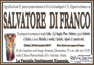 lutto Salvatore Di Franco